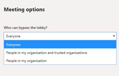 Meeting options in Teams — Lync se